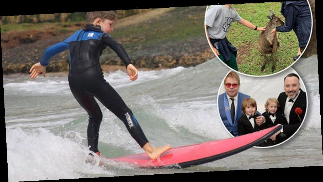 Elton John shares rare pics of his sons on Australian leg of his farewell tour