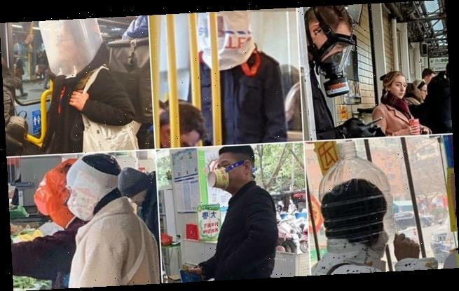 Coronavirus-conscious commuters are wearing gas masks