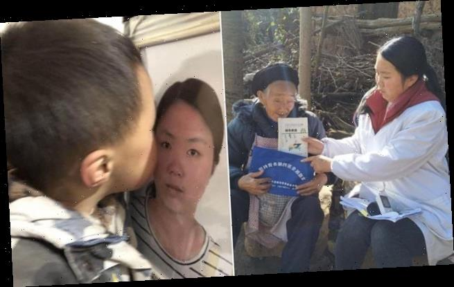 Boy kisses his mother's photo after she died fighting coronavirus