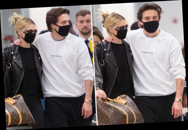 Brooklyn Beckham and girlfriend Nicola wear coronavirus masks as they fly into New York after his 21st birthday – The Sun