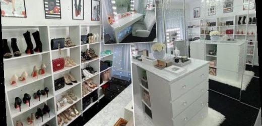 Bride shows off the dream dressing room her fiancé built her