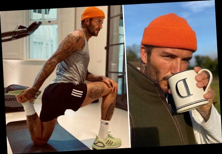 David Beckham sends fans wild as he works up a sweat in tiny shorts in the gym
