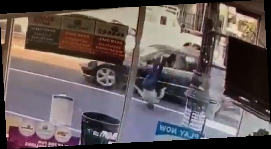 Horrifying moment grandma, 70, is hurled through the air by maniac hit-and-run driver on crosswalk