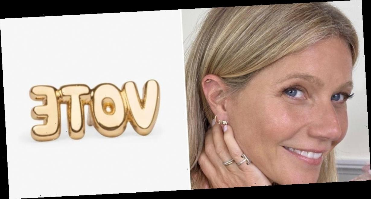 Gwyneth Paltrow wore $70 'vote' earrings that are available for pre-order after selling out within 48 hours
