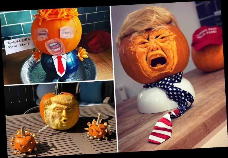 Donald Trump pumpkin carvings are the Halloween craze for 2020 as people create terrifying 'Trumpkins'