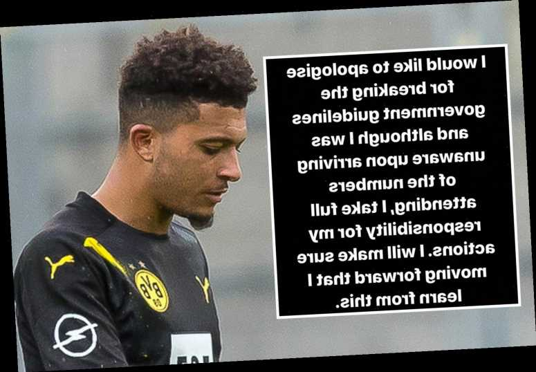 Jadon Sancho issues apology after England star breaks coronavirus rules at party with Abraham and Chilwell