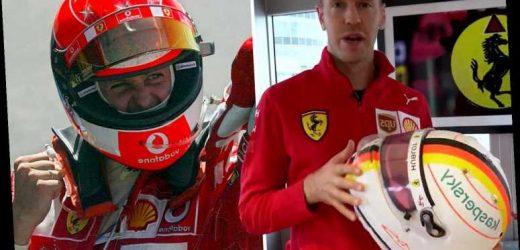 F1 star Sebastian Vettel makes classy tribute to Ferrari legend Michael Schumacher with new helmet at Eifel GP