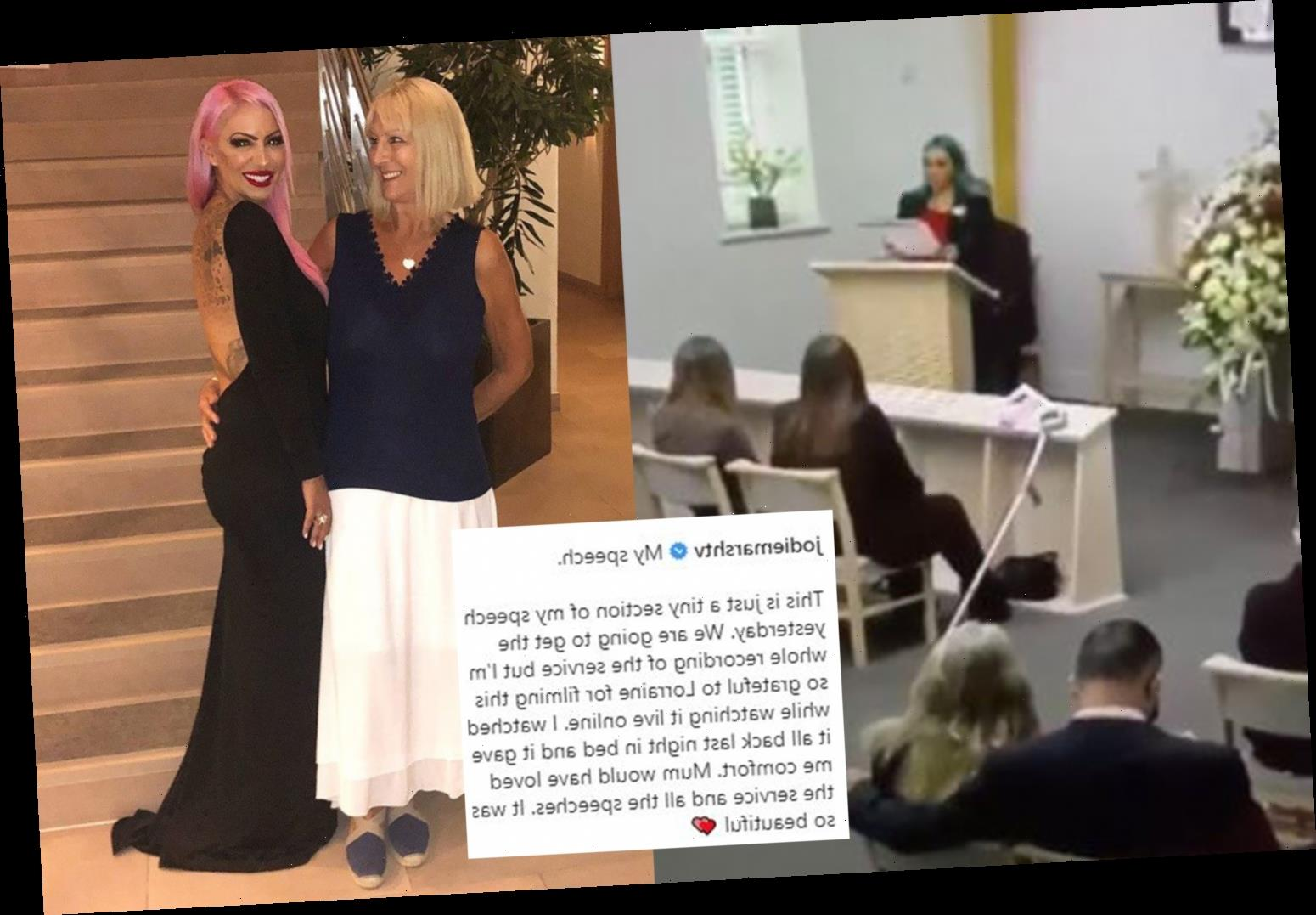 Jodie Marsh lays her 'fearless' mum to rest in emotional funeral and shares her heartbreaking speech