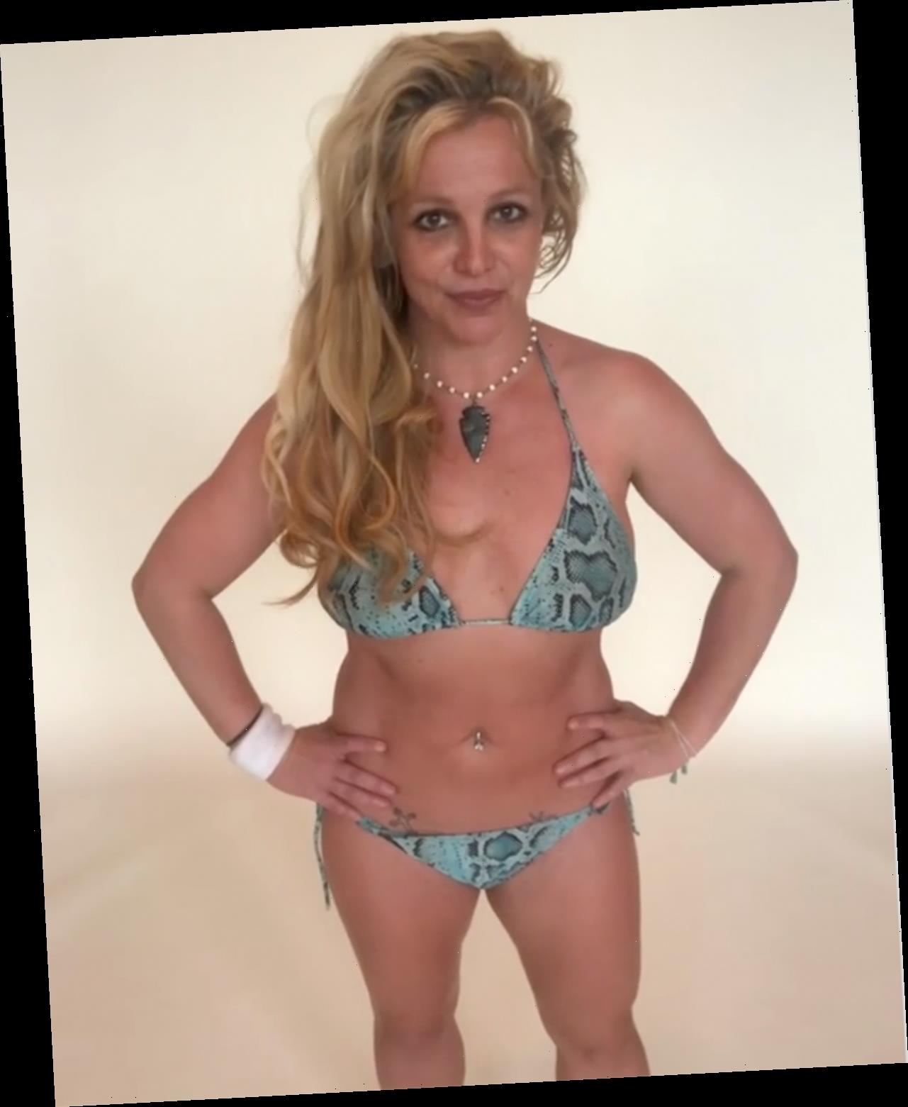 Britney Spears Shares Her Beach Day Essentials While Posing in Snakeskin-Print String Bikini