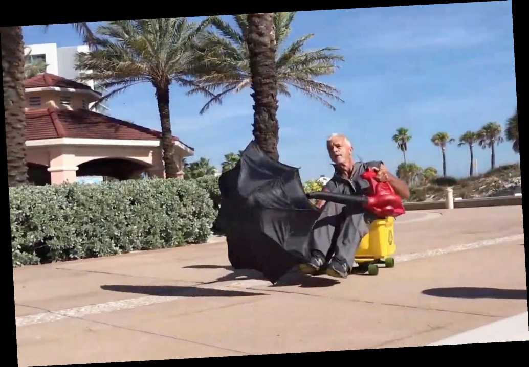 Florida janitor turns heads with leaf blower-powered vehicle