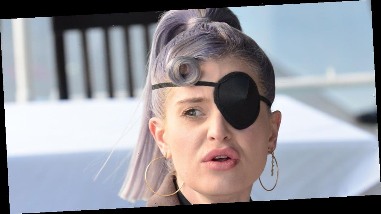 Kelly Osbourne pictured sporting an eye patch while out for lunch with friends after makeup related injury