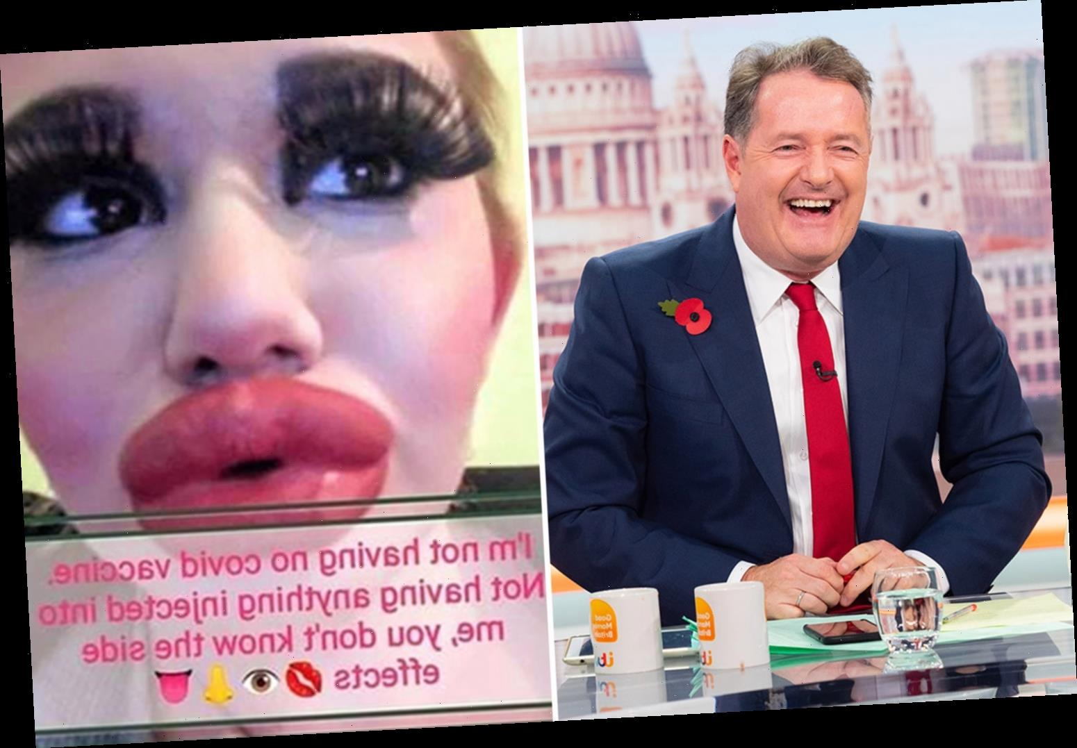 Piers Morgan pokes fun at coronavirus vaccine doubters with hilarious lip filler snap