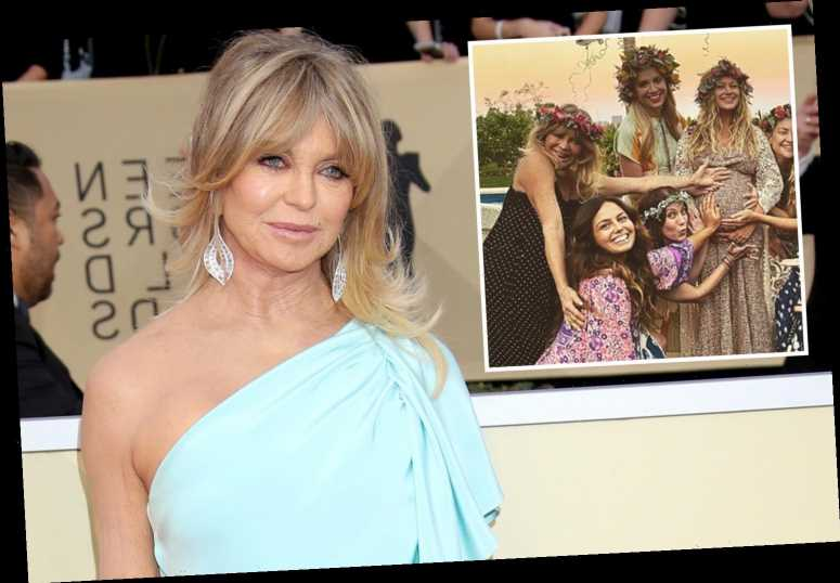Goldie Hawn, 74, stuns in flower crown as she makes rare appearance at her daughter-in-law's baby shower – The Sun
