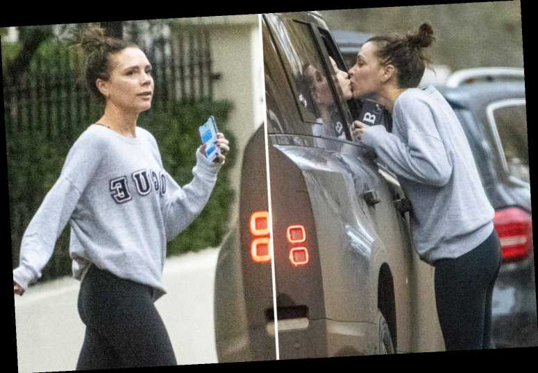 Fresh-faced Victoria Beckham dresses down as she kisses Harper goodbye on the lips on school run in sweet snap