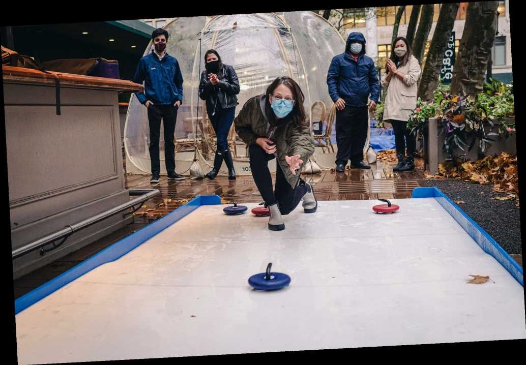 Curling pop-up in Bryant Park offers COVID-safe competition
