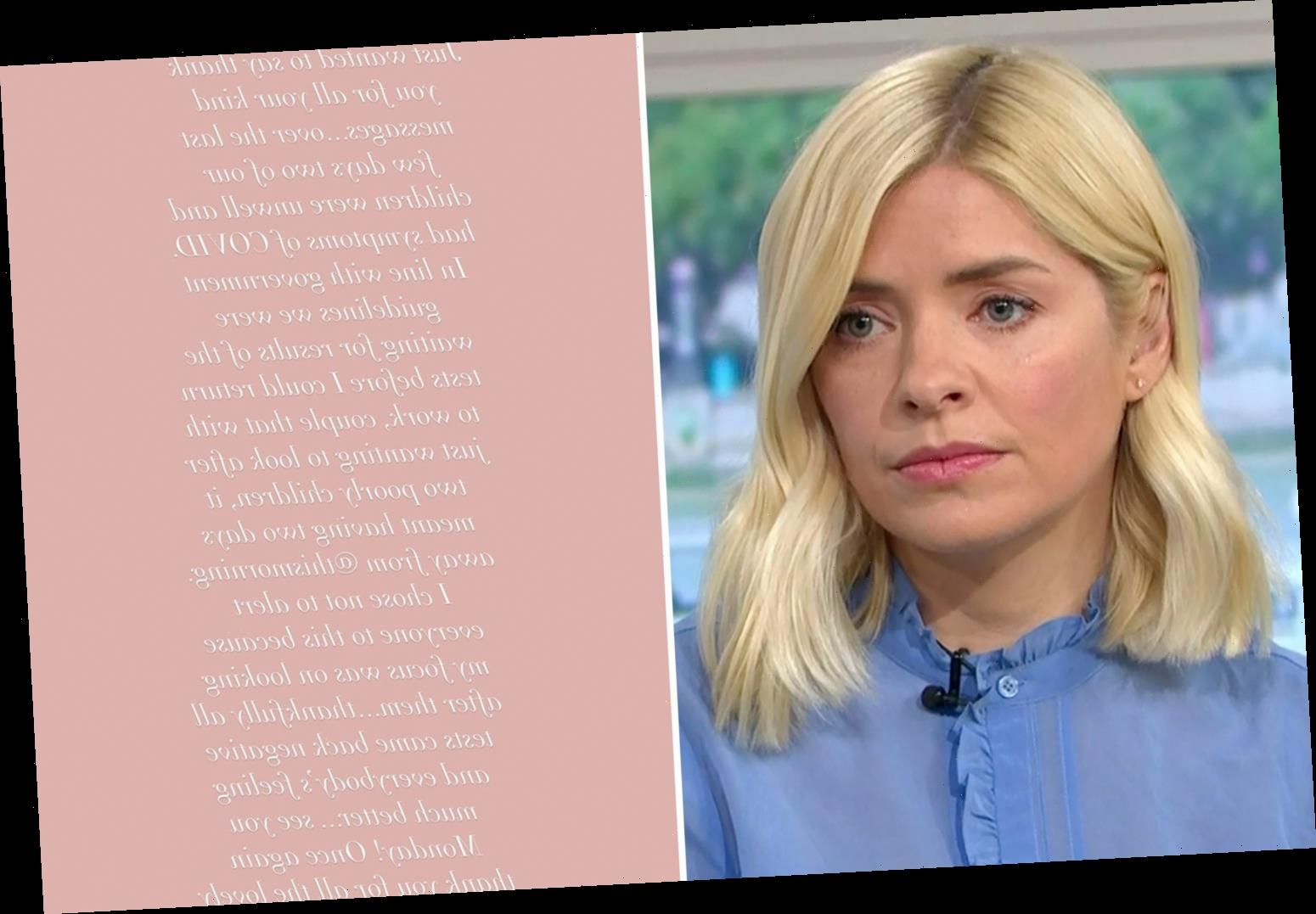 Holly Willoughby speaks out for first time since Covid scare saying 'I chose not to alert everyone to this'