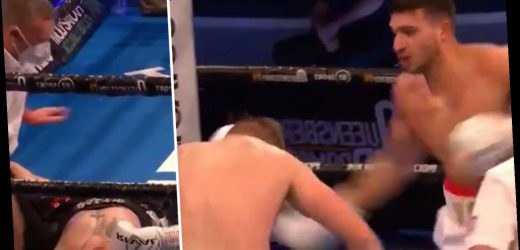 Watch Love Island star Tommy Fury brutally knock out Genadij Krajevskij in round two as Tyson's younger brother goes 4-0