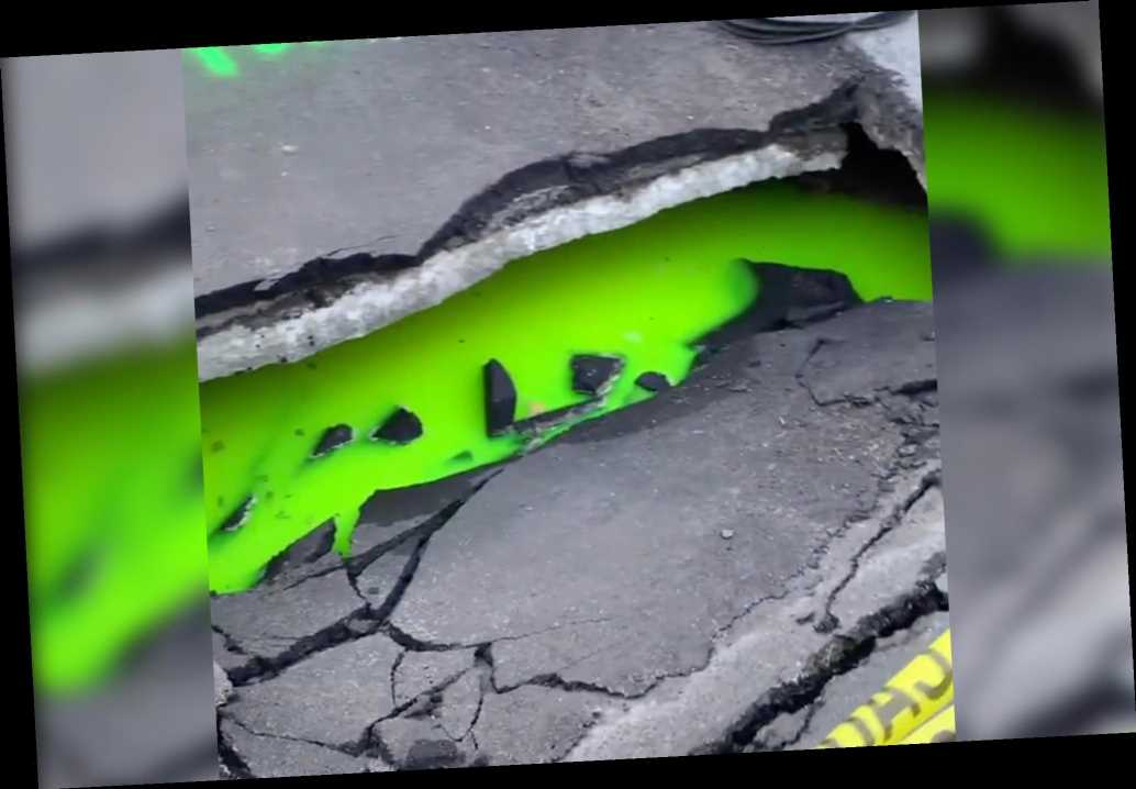 Ninja Turtle-esque green slime sinkhole turns heads in Toronto