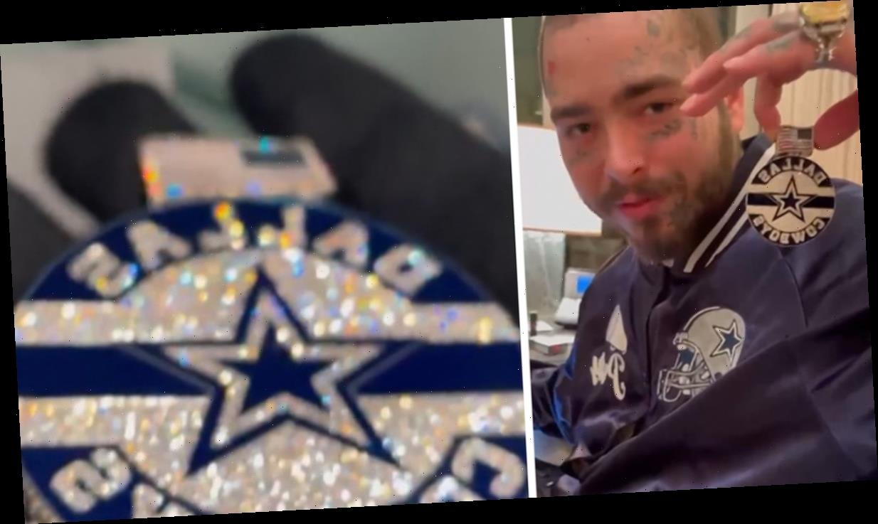 Post Malone Cops Dallas Cowboys Pendant Dripping in Diamonds