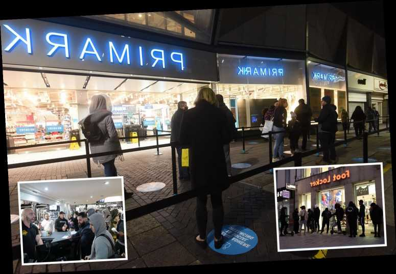 Primark shoppers queue in dark from 5am and gyms reopen at MIDNIGHT as lockdown ends