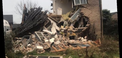 Huge gas explosion blows apart house but owner miraculously escapes unharmed