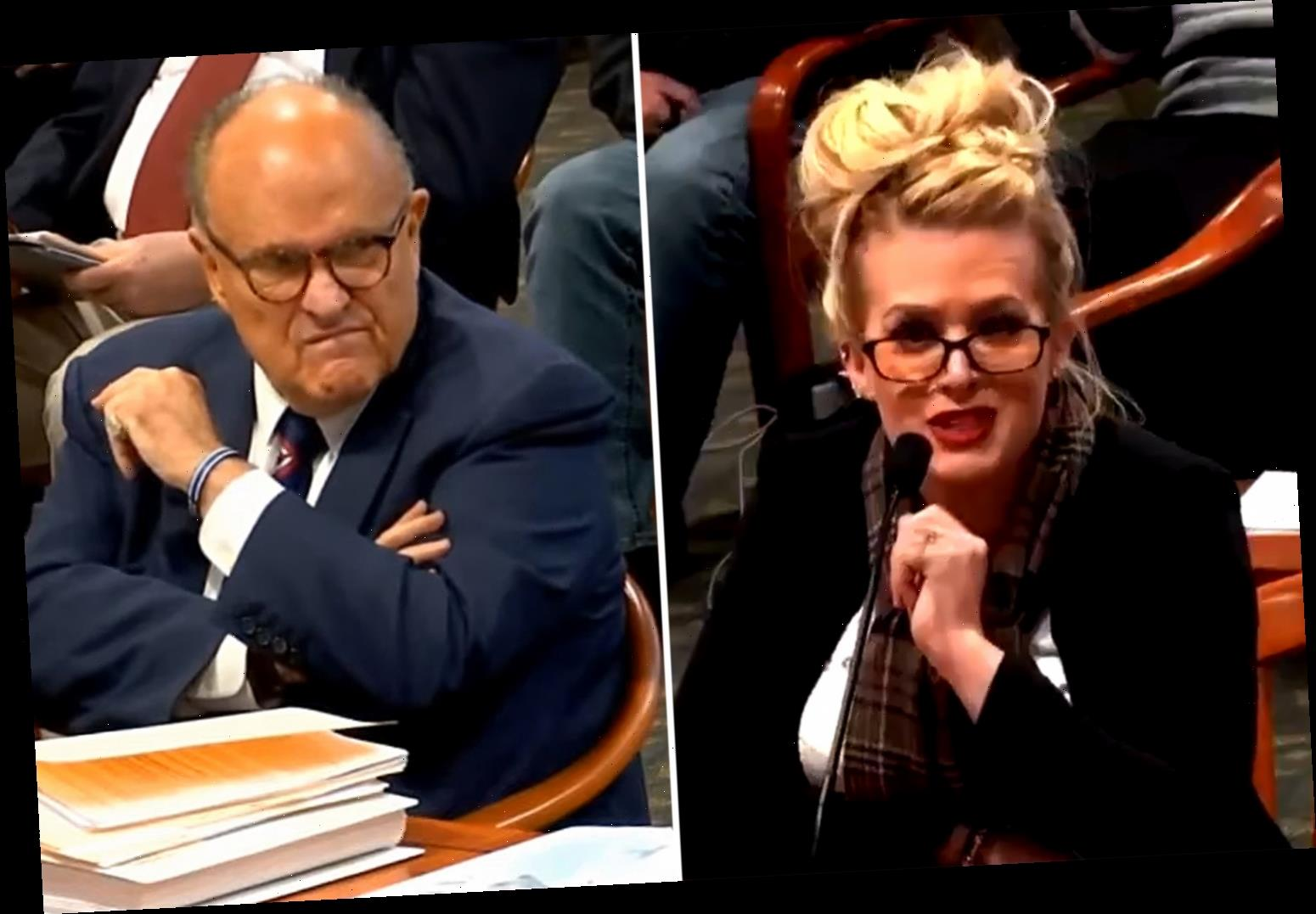 Rudy Giuliani awkwardly SHUSHES 'star' witness testifying to 'voter fraud' as another says 'all Chinese look alike'