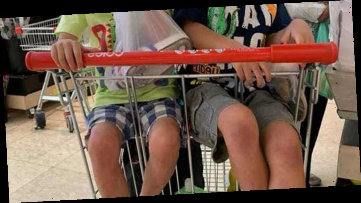 Mum 'told off' by stranger after putting two of her kids in supermarket trolley