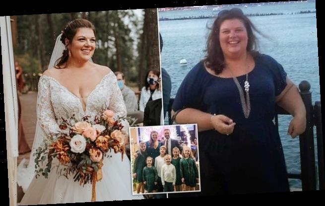 Bride who dropped 196lbs looks almost unrecognizable in wedding snaps