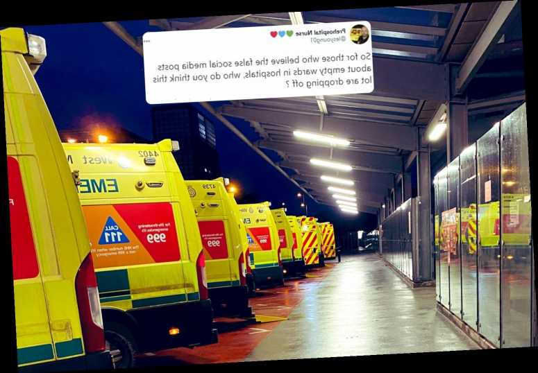 Nurse shames Covid deniers as ambulances queue up saying: 'dear conspiracy theorists, who do you think these are for?
