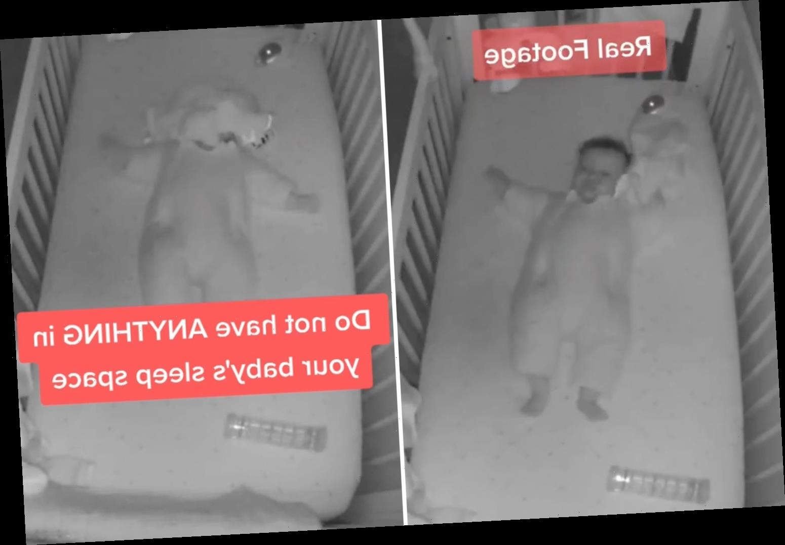 Terrifying moment baby gets tangled in comfort blanket shows why you should NEVER put anything in a cot with your child