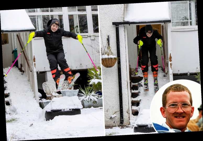Lad emulates his hero Eddie 'The Eagle' Edwards — by ski-jumping in garden