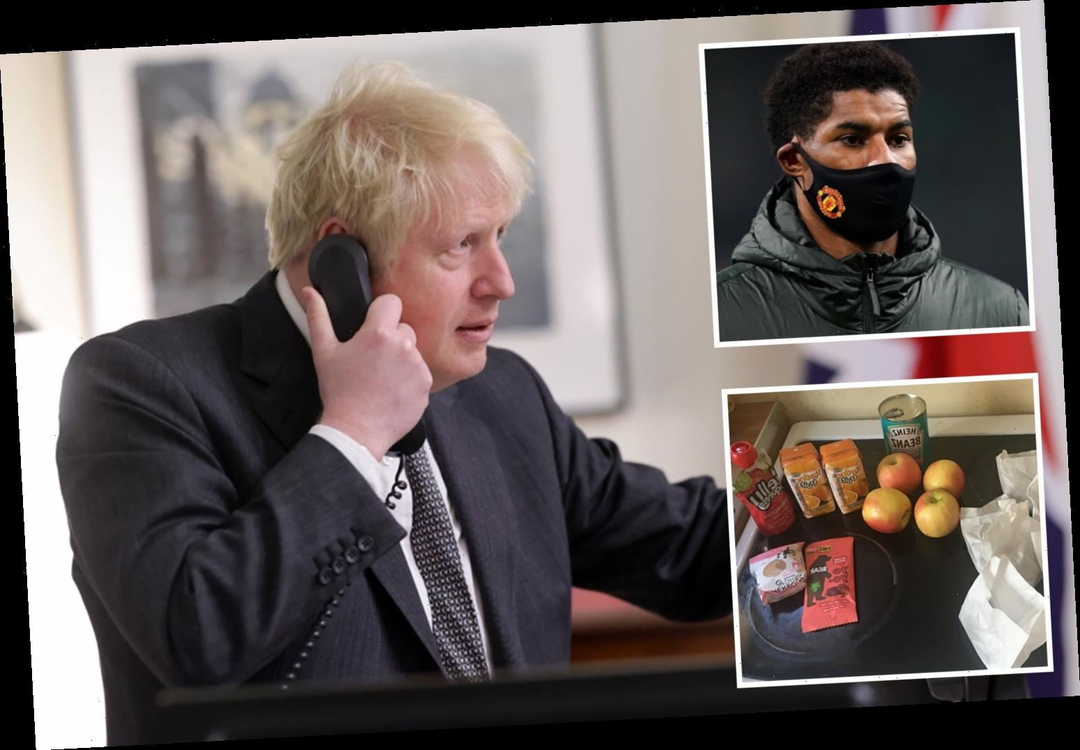 Boris Johnson blasts 'unacceptable' school meal parcels in call with Marcus Rashford after Chartwells packages slammed