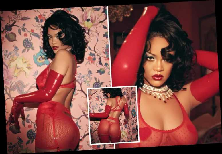 Rihanna looks incredible in red lace lingerie as she models Savage x Fenty's Valentine's Day collection