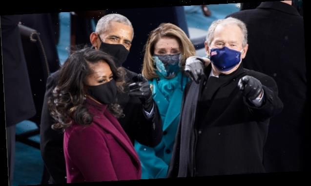 Michelle Obama & George Bush Reunite At Inauguration & Prove Friendship Is Going Strong