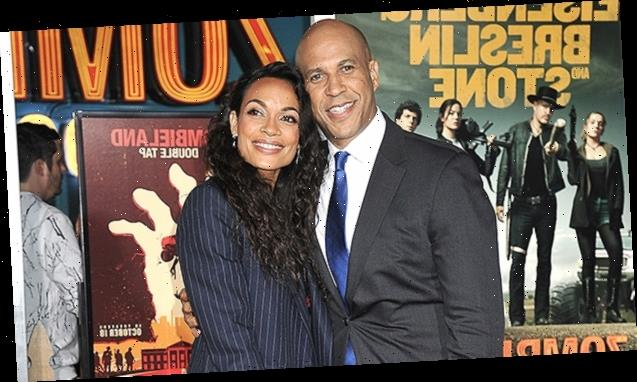 Rosario Dawson & Cory Booker Are A Clone Couple As They Wear Matching Masks To Inauguration