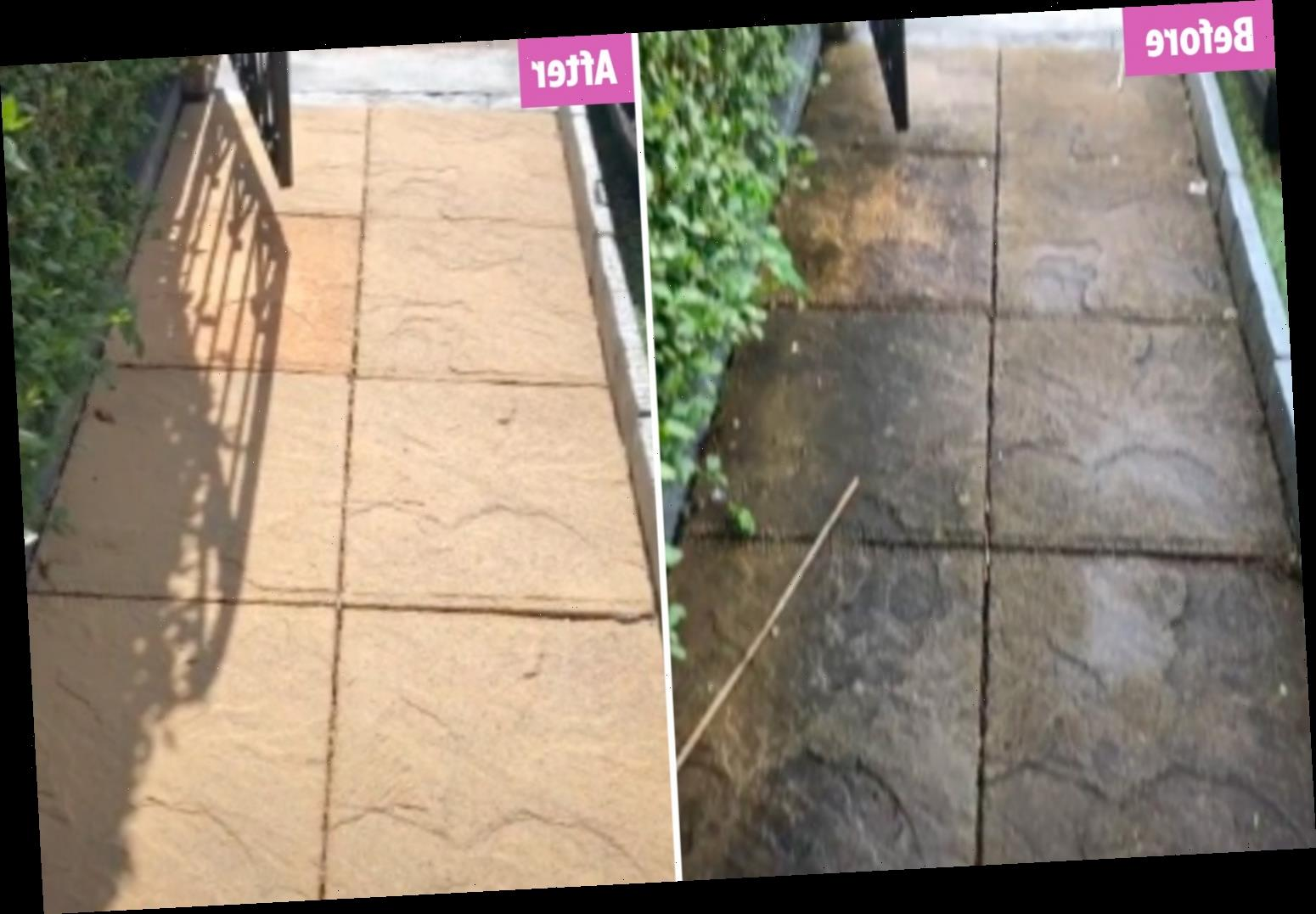 Woman completely changes colour of the grotty patio she hasn't washed in SIX years using £2 The Range spray