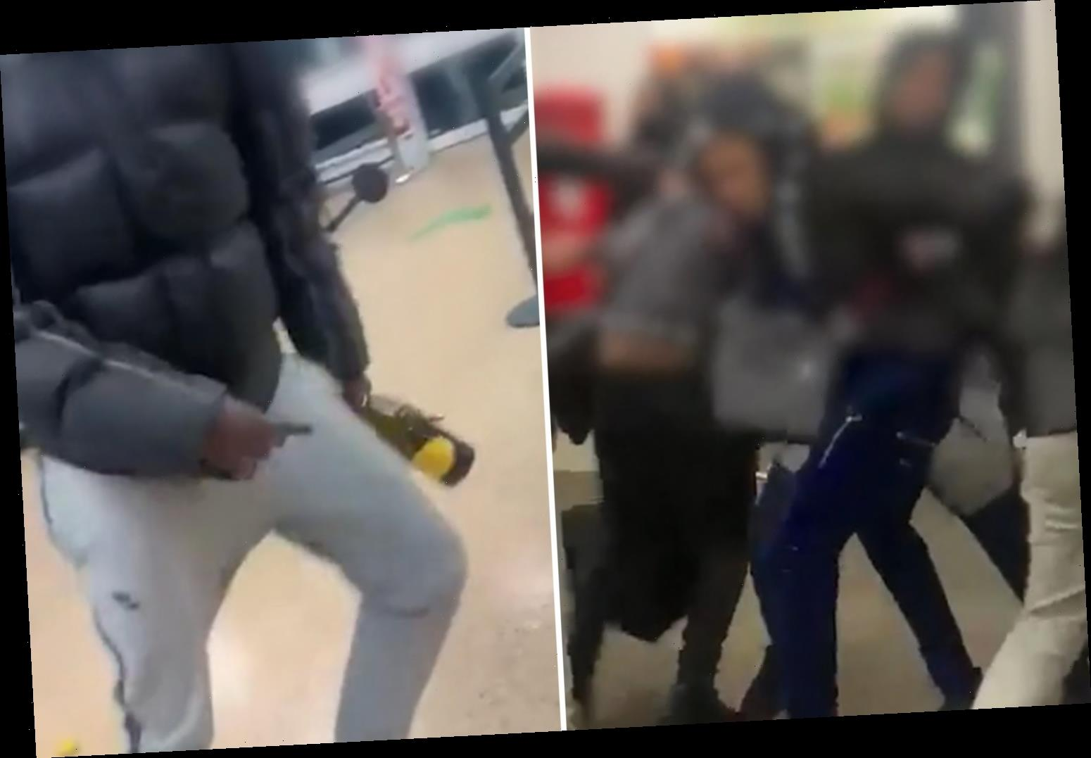 Asda yobs brawl & smash champagne bottles on each other in shocking rampage
