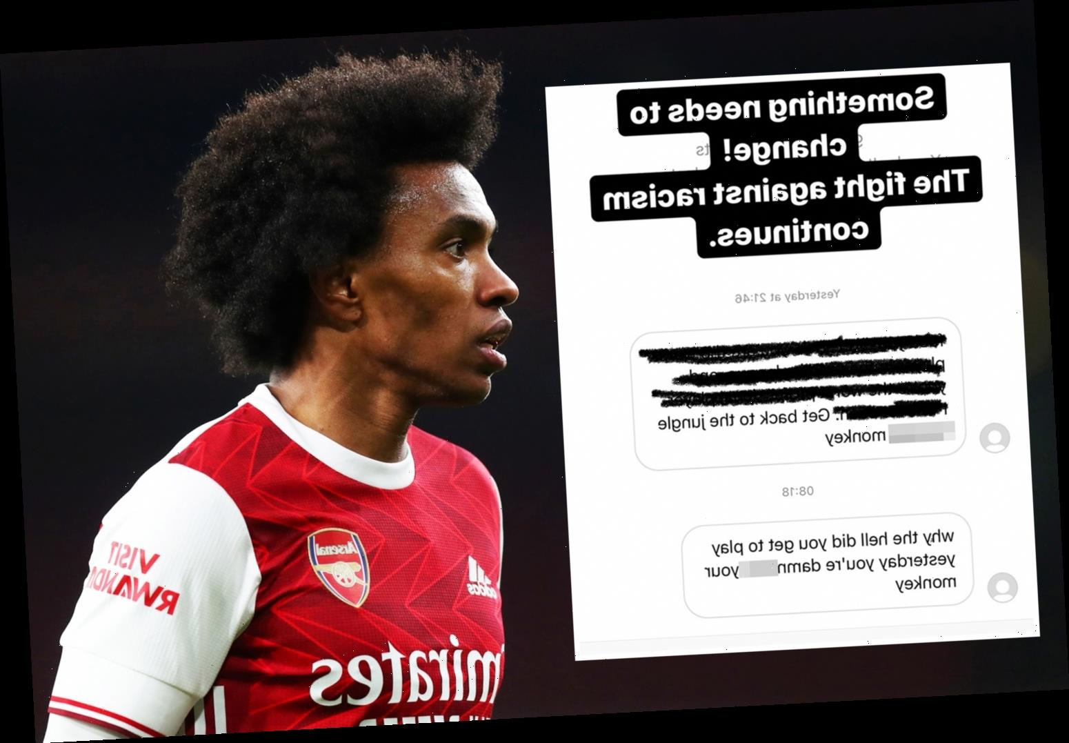 Arsenal star Willian called 'f***ing monkey' as Brazilian is latest to be racially abused by sick trolls on social media