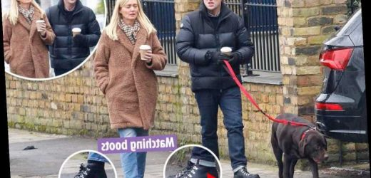 Ant McPartlin and fiancée Anne-Marie Corbett take a stroll in matching boots