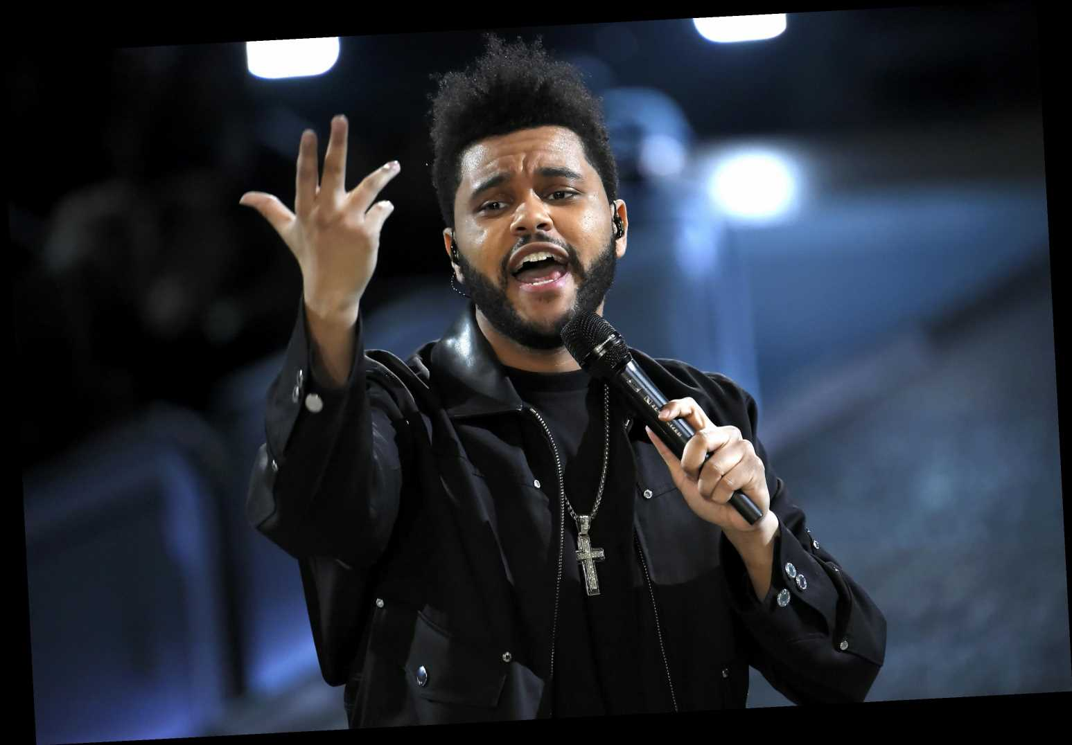 What is The Weeknd wearing at the Super Bowl halftime show?