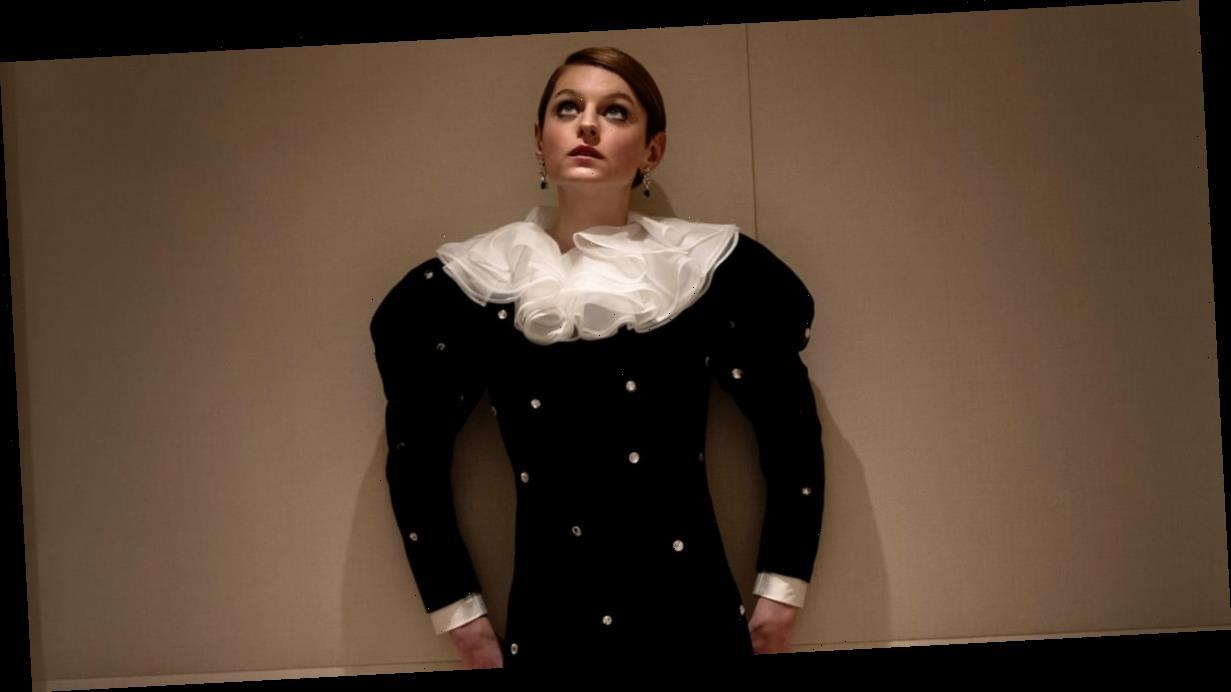 Emma Corrin's Velvet Miu Miu Gown Is Pierrot the Clown Meets Lady Di