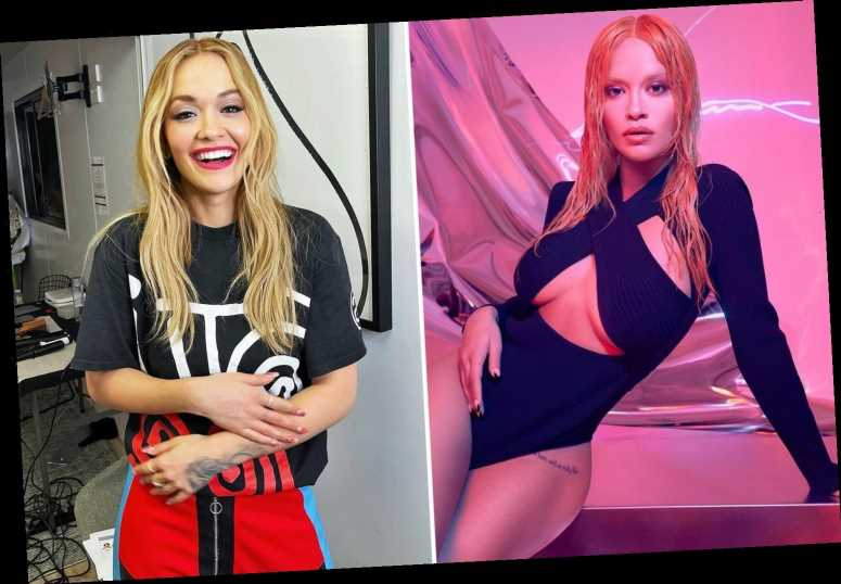 Rita Ora looks dramatically different with bleached eyebrows as she poses in sizzling bodysuit on shoot