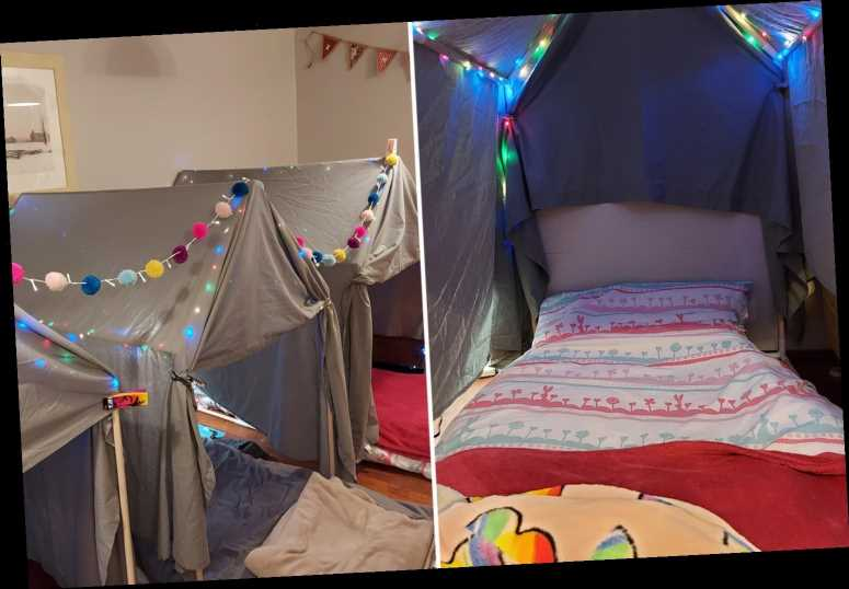Mum makes epic sleepover den using £20 frame, fairy lights and sheets
