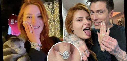 Bella Thorne engaged to boyfriend Benjamin Mascolo as the actress breaks down in tears flaunting massive diamond ring