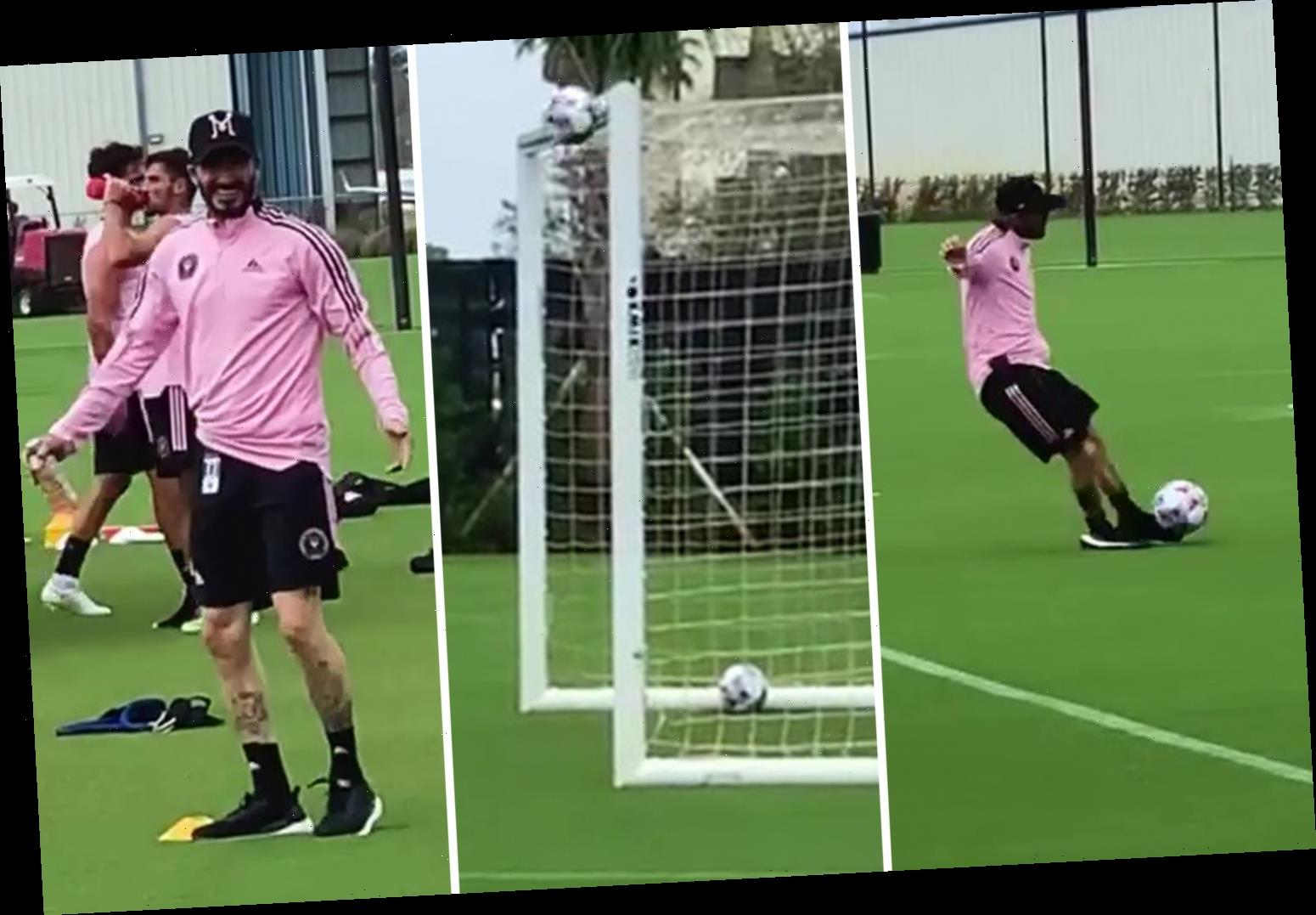 Watch David Beckham roll back years to nail crossbar challenge in Inter Miami training but Neville doubts video is real