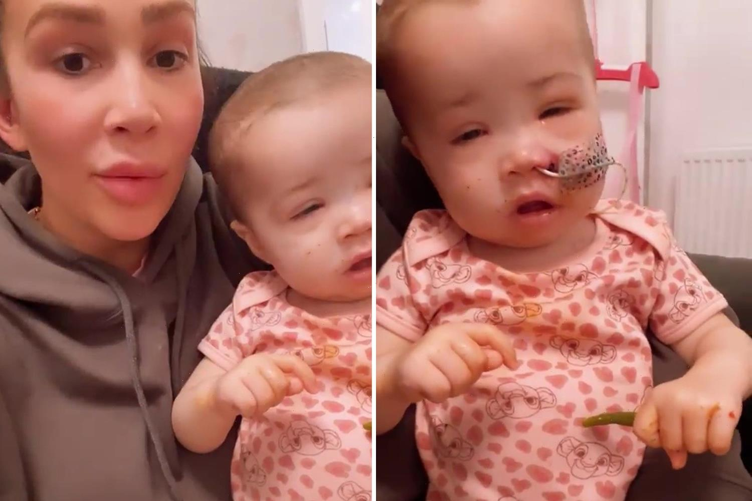 Ashley Cain's daughter Azaylia eats for the first time in two weeks as she spends the day surrounded by family