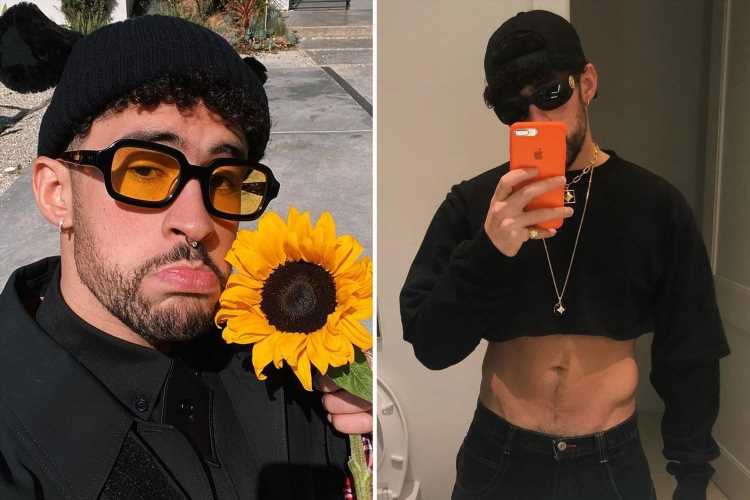 Bad Bunny shows off his incredible abs as he poses in a crop top for mirror selfie