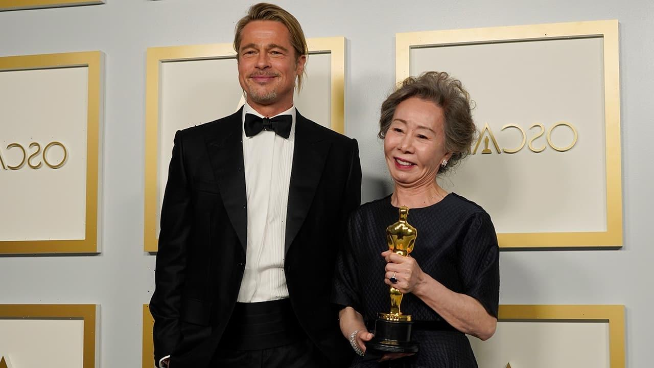 Brad Pitt fights back tears during 'Minari' actress' Oscars acceptance speech