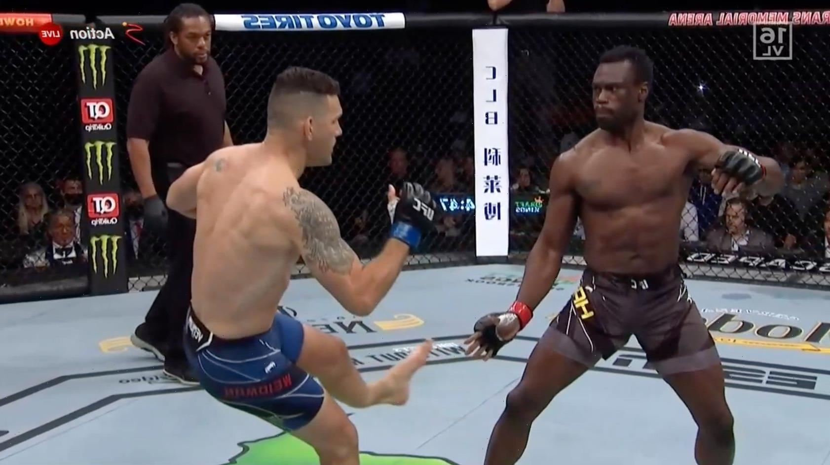 Chris Weidman suffers horrific leg break in UFC 261 clash against Uriah Hall and is stretchered out of arena