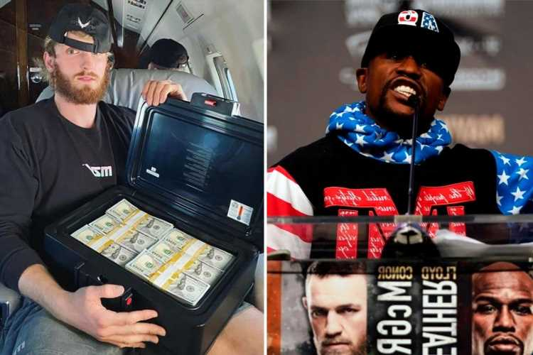 Floyd Mayweather and Logan Paul's fight purses REVEALED with Money man dwarfing his rival with mega £72m payday